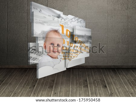 Genius baby on abstract screen against dark room with floorboards