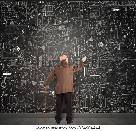 Genius business senior write on the blackboard - stock photo