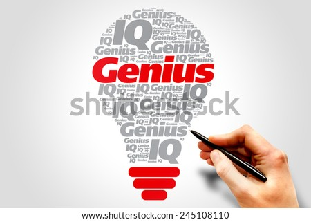 Genius info-text graphics and arrangement bulb concept on gray background, word cloud - stock photo
