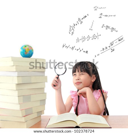 Genius little girl reading book isolated white background - stock photo