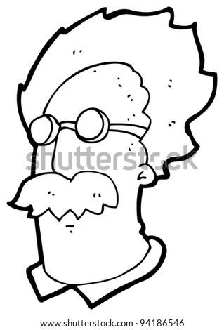 genius scientist cartoon (raster version) - stock photo