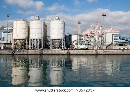 Genoa commercial dock. Storage tank at terminal containers of Genoa harbor - Italy