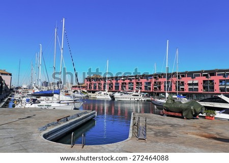 Genoa harbor - stock photo
