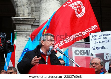"GENOA, ITALY-DECEMBER 12 - national general strike against the government Renzi and the ""jobs act"" - Genoa, Italy on dec 12 2014"