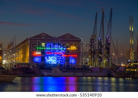 "GENOA, ITALY, DECEMBER 6, 2016 - View of ""Porto Antico"" old harbor in Genoa, italy"