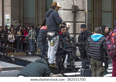 Genoa, Italy January 31, 2016: Piazza De Ferrari, filming of the movie, A better man, film for the Chinese television's. Sun Honglei, star of the television detective series is very popular in China.