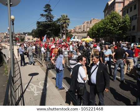 GENOA, ITALY - JUNE 15: strike of the workers of the group finmeccanica against the sale of some firms of the group, June 15, 2012 in Genoa, Italy