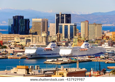 GENOA, ITALY - MAY 4, 2016: Port of Genoa. Genoa is the capital of Liguria and the sixth largest city in Italy