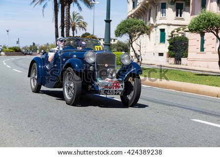 "GENOA, ITALY - MAY 22, 2016 :  14th Historical Recreation of ""Superba"" racing circuit with vintage car oldest of 1943"