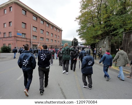 GENOA, ITALY - NOVEMBER 27: strike of the workers of the group finmeccanica against the sale of some firms of the group, Nov 27, 2012 in Genoa, Italy