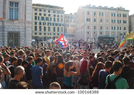 GENOA, ITALY, 7 OCTOBER - Day in all Italy (90 cities) of manifestations and national strikes of the students against the cuts to the school and the culture, Genoa, Italy, Oct 7 2011
