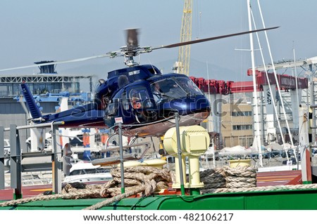 GENOA, ITALY - OCTOBER 7, 2011: 51th edition of the International Boat Show. Link service by helicopter from the marina at the airport.