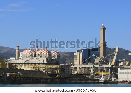 Genoa, Italy, 25 September 2015: Enel power plant Coal of Genoa