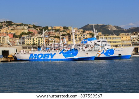 GENOA, ITALY - September 25, 2015: Moby ferry port of Genoa.