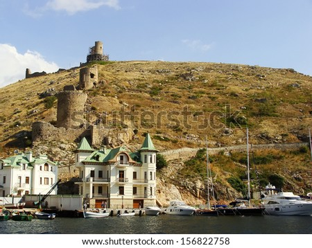 Genoese fortress Cembalo and Balaklava town, Crimea, Ukraine - stock photo