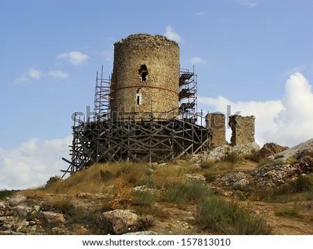 Genoese fortress Cembalo, Balaklava, Crimea, Ukraine - stock photo