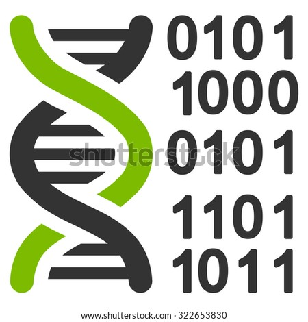 Genome Code glyph icon. Style is bicolor flat symbol, eco green and gray colors, rounded angles, white background.