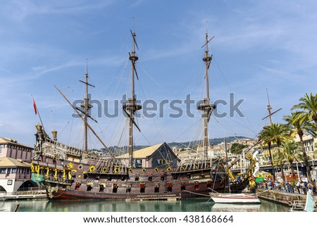 Genova, Italy - September 27, 2015: Figurehead of Galleon Neptune, a replica of a 17th-century Spanish galleon. The ship was built in 1985 for Roman Polanski's film Pirates - stock photo
