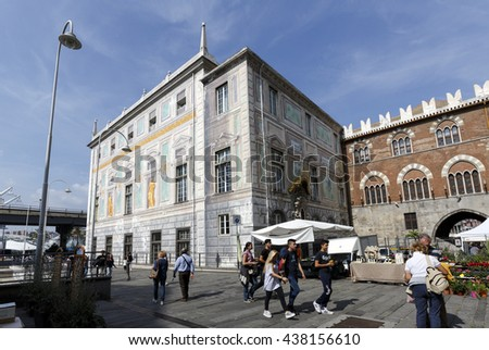 Genova, Italy - September 27, 2015: Palace of St. George, also known as the Palazzo delle Compere di San Giorgio, situated in the Piazza Caricamento - stock photo