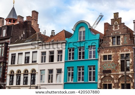 Gent, Belgium - December 20th 2014 - The traditional buildings of Gent in Belgium