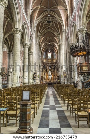 GENT, BELGIUM - MAY 12, 2014: Interior of Saint Michael church (Sint-Michielskerk) in Ghent. Roman Catholic Church devoted to St. Michael. Construction of the church began in 1440.