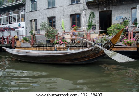 GENT, BELGIUM - SEPTEMBER  9, 2014: Boat on the water in Ghent