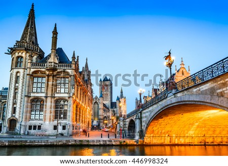 Gent, Belgium. The historic center of Ghent (Gand), embankment Graslei at night. Former center of the medieval harbor in Flanders. - stock photo