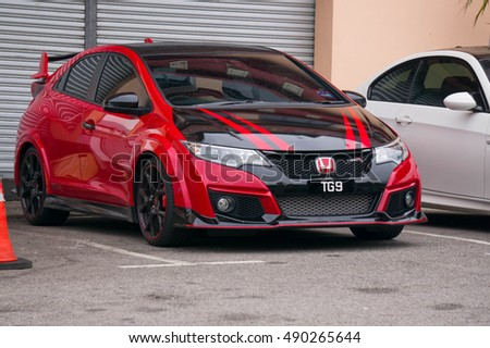 GENTING HIGHLAND, MALAYSIA - SEPT 25, 2016: Honda Civic Type R. It is the highest performance version of the Honda Civic and features a lightened and stiffened body, specially tuned engine.
