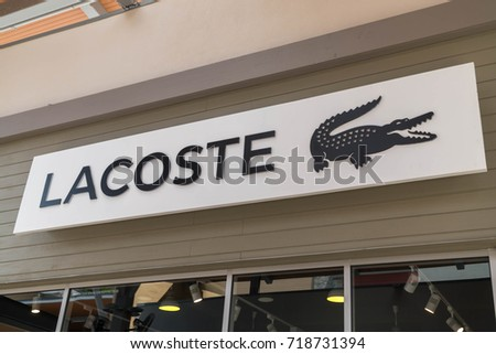 GENTING HIGHLAND, MALAYSIA - SEPTEMBER 16, 2017: Lacoste shop at Genting Highlands Premium Outlets. Lacoste is a French clothing company founded in 1933 by tennis player René Lacoste and André Gillier