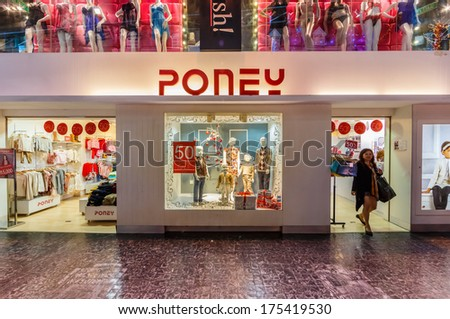 GENTING HIGHLANDS, MALAYSIA - DEC 21 : Front Store of Poney in First World Plaza on Dec 21,13 in Genting Highlands. It's a shopping centre, consists of shops, restaurants, an indoor theme park, ect.