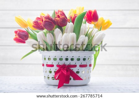 Gentle colored tulips in a basket. Spring flowers. Wooden board rustic. Beautiful light background - stock photo