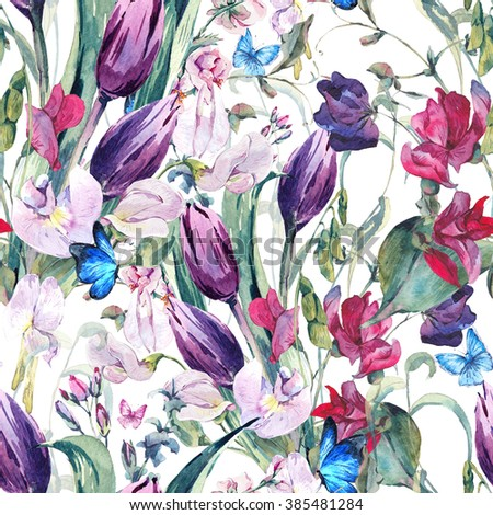 Gentle Floral Vintage Watercolor Seamless Background with Sweet Peas, Tulips and Butterflies, botanical illustration - stock photo