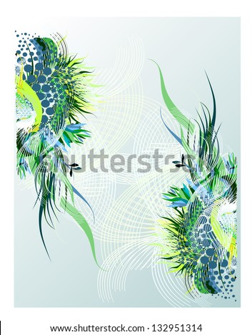 Gentle green floral frame. Raster - stock photo