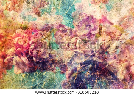 gentle lilac flowers and watercolor spatter - stock photo