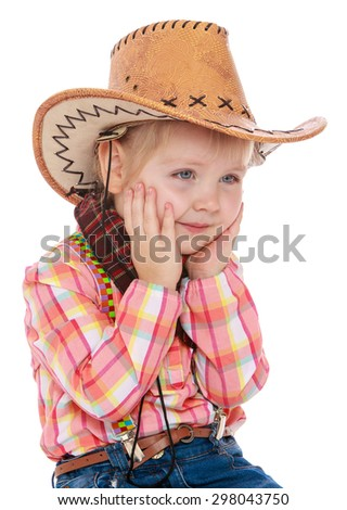 Gentle little girl in a plaid shirt and cowboy hat, close-up-Isolated on white background