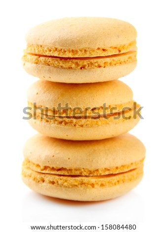 Gentle macaroons isolated on white - stock photo