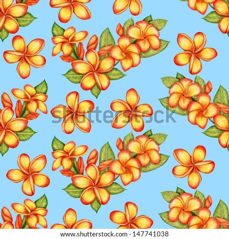 Gentle pattern with plumeria flowers - stock photo
