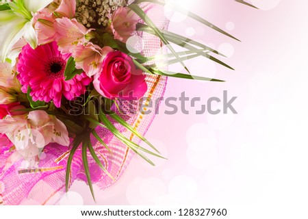 gentle pink and white spring flowers. Boquet with red rose on blur background - stock photo
