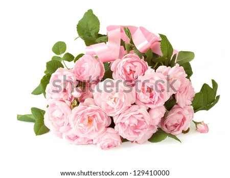Gentle roses bunch with bow isolated on white background. Bride bouquet. Wedding bouquet