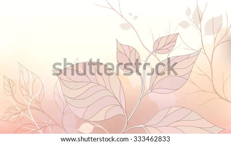 Gentle vector background with stylized leaves