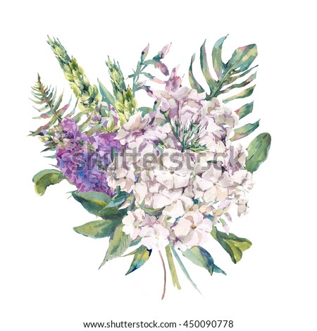 Gentle watercolor greeting card with a bouquet of phlox, lupine, fern leaves with garden and wild flowers, botanical natural watercolor illustration on white background - stock photo