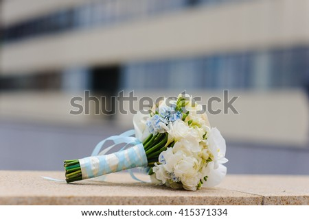 Gentle wedding bouquet - stock photo