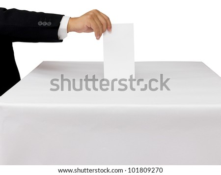 Gentleman hand putting a voting ballot in slot of white box isolated on white - stock photo