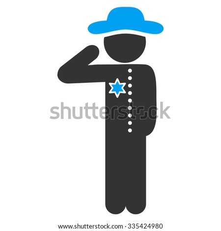 Gentleman Officer raster icon. Style is bicolor flat symbol, blue and gray colors, rounded angles, white background.
