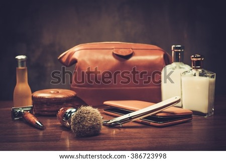 Gentleman's accessories on a luxury wooden board  - stock photo