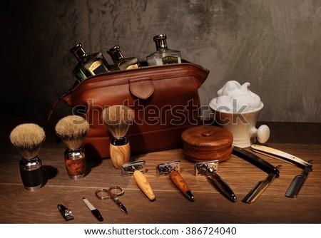 Gentleman's accessories on a luxury wooden board  - stock photo