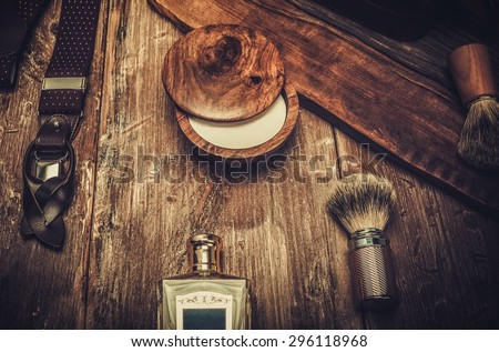 Gentleman's accessories on a on a luxury wooden board  - stock photo
