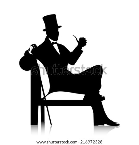 gentleman's silhouette with a tube - stock photo