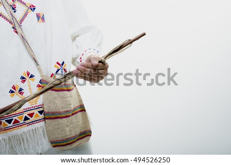 Gentleman wearing the traditional costume and ornaments of Panama, MONTUNO, CHACARA.
