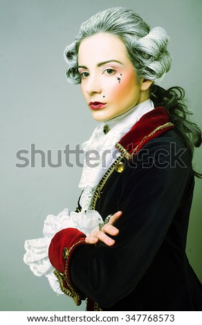Gentleman. Young woman in gallant cavalier image